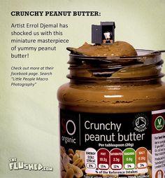 Errol Djemal get's miniature crunchy peanut butter on us! Yum.