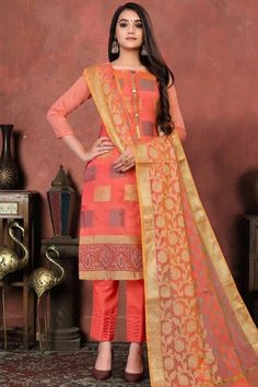 Let the next ethnic occasion see you flaunt a mesmerisingly vibrant avatar wearing this salmon orange art silk trouser suit which will make you absolutely astoundingly gorgeous and that wil be least interesting thing about you. Trouser pant is plain. Dupatta adorned with woven work. #trousersuit #salwarkameez #malaysia #Indianwear #Indiandresses #andaazfashion Pink Trousers, Trouser Suits, Pantalon Cigarette, Cerise Pink, Silk Dupatta, Pakistani Suits, Online Fashion Stores, Indian Dresses, Traditional Dresses