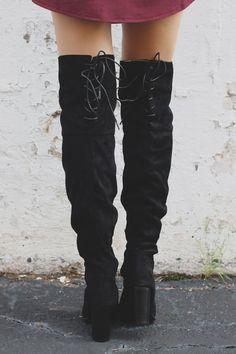Black Laceup Almond Toe Heel Over the Knee Boot Zinc-01