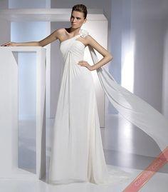 Sheath One Shoulder Long Chiffon Wedding Dresses for Brides