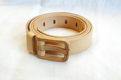 Metal free leather belt with wooden buckle