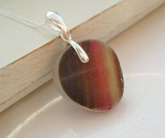 Brown & Pink End Of Day Sea Glass Sterling Silver by SeahamWaves