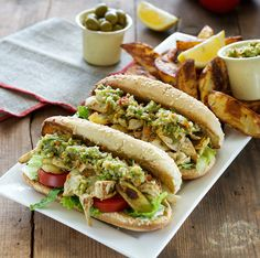 Vegan Muffaletta Po Boy sandwiches