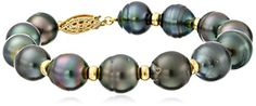 Yellow Gold Over Sterling Silver Black Baroque Tahitian Cultured Pearl with Rondelle Strand Bracelet *** You can get additional details at the image link.