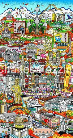 A Pis of a Time in Brussels by artist Charles Fazzino. Modern Art Artists, City Sketch, Cityscape Art, Square Art, New York Art, Detail Art, 2d Art, Oeuvre D'art, Art Images