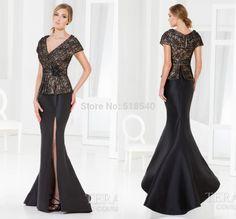 New Arrival Custom Made V-neck Short Sleeve Black Lace Split Tuxedo Vestidos Long Mermaid Evening Dresses