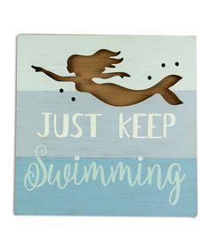 Wood 'Just Keep Swimming' Mermaid Wall Art teal seafoam inspirational Mermaid Wall Art, Mermaid Bedroom, Wooden Wall Art, Wooden Signs, Coastal Master Bedroom, Dream Bedroom, Keep Swimming, Beach Wall Art, Beach Signs