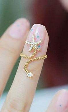 So Cute! Love this Little Starfish Ring! Delicate Little Starfish Diamante Embellished Spiral Ring