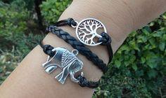 Elephant bracelet, hope tree bracelets, leather bracelets, black mysterious bracelet, cool bracelet, fashion charm jewelry