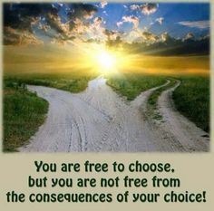 I love this everybody has a Choice! You are free to choose, but you are not free from the consequences of your choice! Lovers Quotes, Choose Wisely, Choose Life, Haruki Murakami, Jehovah's Witnesses, Foster Care, Way Of Life, Picture Quotes, Life Lessons