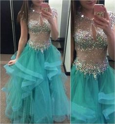 Charming Prom Dress,A-Line Prom Dress, Tulle Prom Dress,Beading Evening Dress P599