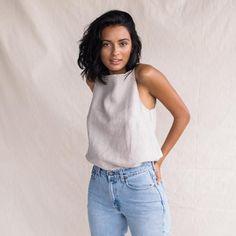 Square Neck Singlet - Natural - ST. AGNI - 1 Easy Style, Minimalist Wardrobe, Minimalist Fashion, St Agni, Square Neck Top, High Cut, Style Guides, Pretty Outfits, Hair Inspo
