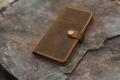 Personalized leather phone wallet for iPhone 11 Pro Max | Etsy Distressed Leather, Brown Leather, Real Leather Wallet, Sewing Leather, Stitching Leather, Phone Wallet, Iphone 11, Hand Sewing, Initials