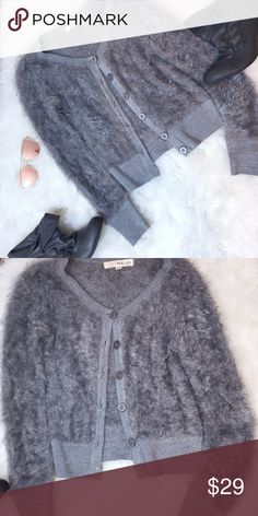 Cozy Fuzzy Grey Sweater Super soft and cozy fuzzy cardigan sweater with glitter trim. Never worn! Excellent condition! NO TRADES but I do accept reasonable offers! rewind Sweaters Cardigans