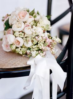 gorgeous blush garden rose and hypericum berry bouquet by Max Gill Design