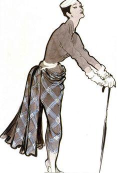 Illustration by René Gruau, 1952, Pierre Balmain Couture.