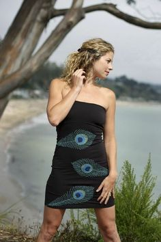 Strapless black dress with peacock feather details.  Valleygirl Boutique