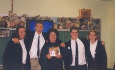 Flashback Friday: 1998- Ms. Pucciarelli, four students...and a chia head?