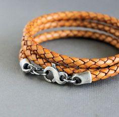 Men's Light Brown Braided Leather Wrap Bracelet