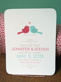 Love Bird Couple Wedding Save the Date, Wedding Invitations, Shower Invitations. $18.00, via Etsy.
