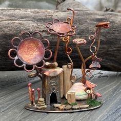 "New for I call these ""micro scenes"", and I just love seeing how they turn out! This Fairy House Micro Scene features: Ornament Hooks, Knife Handles, Shadow Box, Wind Chimes, Silver Plate, Shells, Etsy Seller, Candle Holders, Objects"