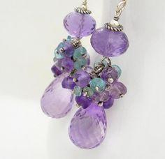 Pink amethyst earrings, Sterling silver Aqua and Purple earrings, Pink Amethyst cluster earrings via Etsy