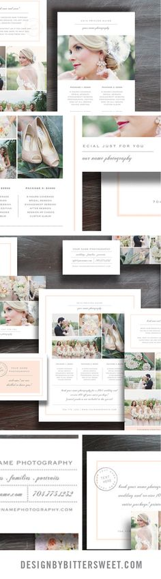 Marketing set template. Wedding photography marketing set. Photographer welcome packet design. Photography branding templates.