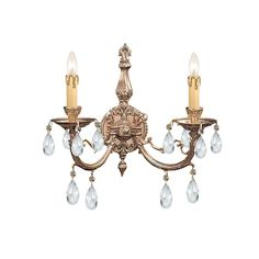 Crystorama 492-OB-CL-MWP 2-Lights Ornate Cast Brass Sconce Accented With Hand Cut Crystal - Olde Brass