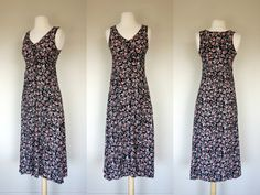 1990s floral print dress rayon dress by DottieMaeVintage on Etsy