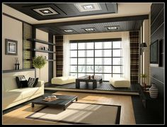 Furniture, Living Room Design With Cream Black Decoration: Spacious Modern Living Room with the Interesting Concept