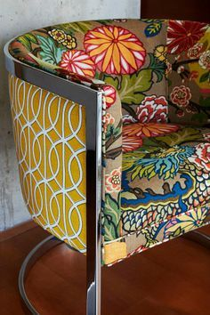 Glass House Project- Mid-Century tub chair reupholstered in Schumacher fabric Chiang Mai Dragon paired with a Dwell fabric. Located in Dallas, Texas high rise.
