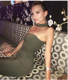 Quick break: Emily Ratajkowski looked stunning in khaki green, at a pre-Oscars party on Sa...