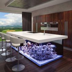Beautiful Purple White Aquariums Design Below Kitchen Table