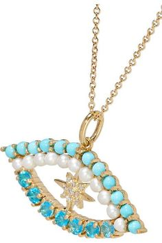 Ileana Makri - Shiny Star Eye 18-karat Gold Multi-stone Necklace - one size