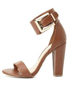 Bamboo Buckled Single Strap Chunky Heels: Charlotte Russe