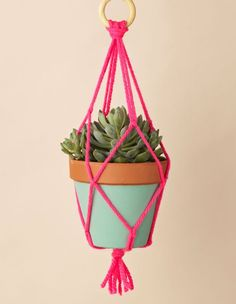 A colourful addition to your house and so easy to make. Macrame plant hanger from Mollie Makes.