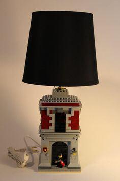 Kids Bedroom Lamp Fire Station Themed Dark Red Lego Lamp with Chief Firefighter
