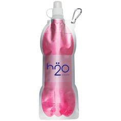 Folding water bottle #promotional product from Lake Prairie Marketing Group Great attendee gift since it's lightweight and travels easily. Folds flat or rolls up & clips with carabiner clip.
