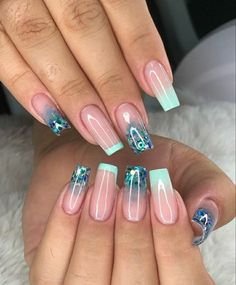 Fancy Nail Art, Fancy Nails, Bling Nails, Swag Nails, Cute Nails, Purple Acrylic Nails, Summer Acrylic Nails, Romantic Nails, Plaid Nails