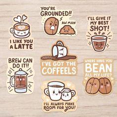 'Coffee Puns' Vinyl Stickers from Tea Puns, Coffee Puns, Coffee Quotes, Coffee Humor, Coffee Theme, Coffee Love, Coffee Art, Coffee Poster, Black Coffee