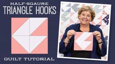 """Make a """"Half-Square Triangle Hooks"""" Quilt with Jenny Doan of Missouri Star (Video Tutorial) Quilting Classes, Quilting Tips, Quilting Tutorials, Quilting Designs, Msqc Tutorials, Quilting Board, Jenny Doan Tutorials, Missouri Star Quilt Tutorials, Half Square Triangle Quilts"""