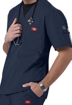 Dickies Gen Flex Men's Youtility V-neck Scrub Tops Scrubs Outfit, Scrubs Uniform, Men In Uniform, Spa Uniform, Cute Nursing Scrubs, Top Azul, Corporate Wear, Corporate Identity, Identity Design