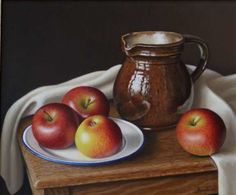 """Dutch Jug with Apples 10""""x12""""     Sold"""