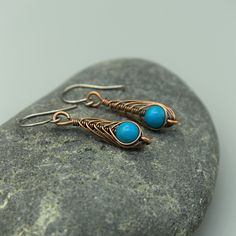 Copper Wire Wrapped Herringbone Drop Earrings with Turquoise Howlite Beads £5.50