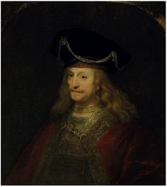 Ferdinand Bol (Dordrecht 1610-1680 Amsterdam) - Portrait of a gentleman, half-length, in a cloak and bejeweled hat oil on canvas, the upper corners made up 34¼ x 30¾ in. (87 x 78.1 cm.)