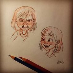 #sketch #sketchbook #doodle #warmup #girl #expression #character #design #animation #traditional #art #artistoninstagram #pencil #drawing #illustration #angry #happiness