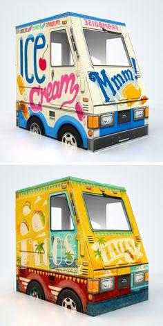 cardboard food trucks for littles!