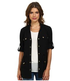 Calvin Klein Calvin Klein  Roll Sleeve Camp Jacket Black Womens Coat for 41.99 at Im in!