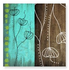Aqua and Brown II Canvas Art 24x24