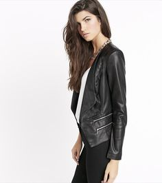Elevate your cold-weather look with this fab faux leather jacket. Perfect for toughening up all your girly dresses and camis.